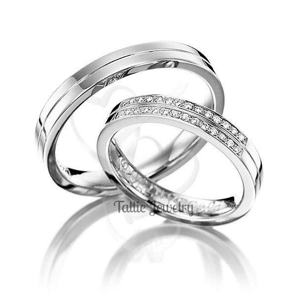 Men S Wedding Band 10k White Gold 4mm: Two Tone Gold Wedding Bands,10K 14K 18K White Gold Mens