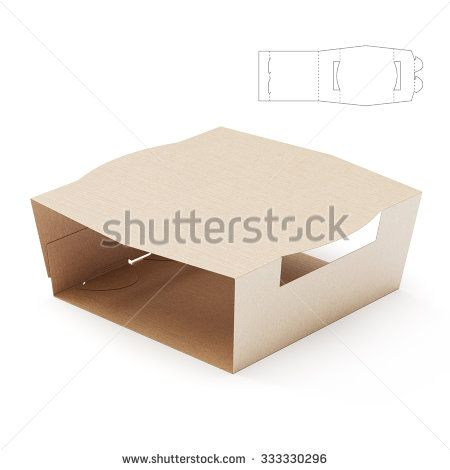 Empty Food Tray Sleeve Package with Die Cut Template - stock photo ...