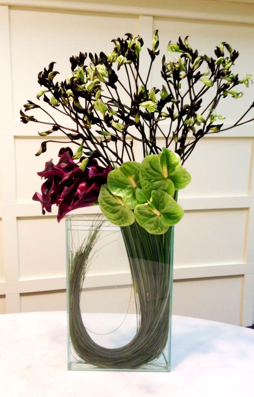 A modern arrangement for a winter wedding flower