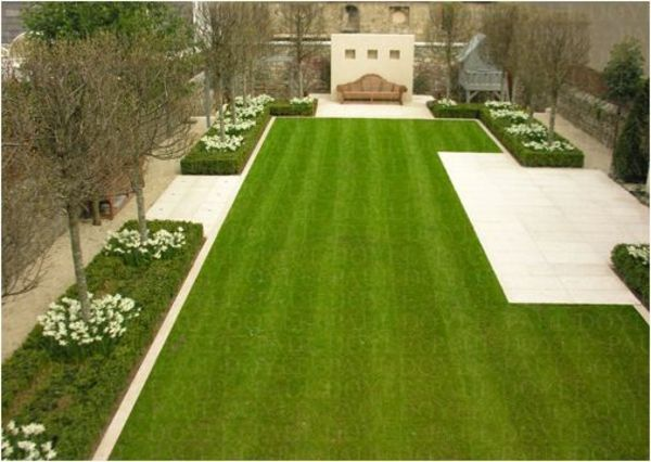 Moderne Gartengestaltung Ideen Rasenfläche Bäume