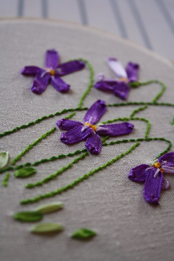 Ribbon Embroidery Violets! So pretty!  Makes me think of spring!