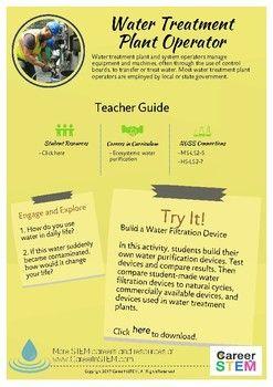STEM Career Exploration: Water Treatment Plant... by CareerInSTEM    Teachers Pay Teachers