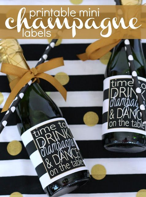 FREE Printable Drink Champagne Dance On The Table Mini Bottle - Free mini wine bottle label template