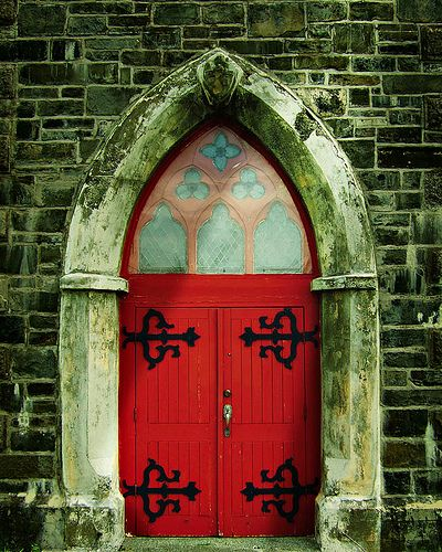 Door of St. Paul's Church in Harbor Grace, Newfounland and Labrador - Canada