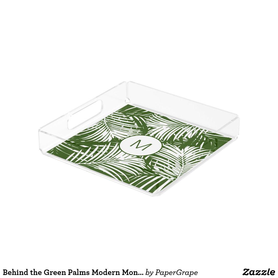 Yellow Bathroomideas: Behind The Green Palms Modern Monogrammed Acrylic Tray