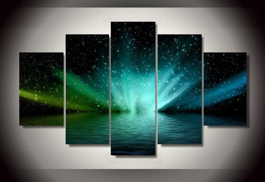 Lake Space Northern Lights Aurora Borealis 5-Piece Wall Art Canvas - Royal Crown Pro
