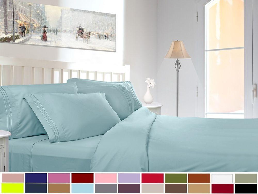 2 Pack 820 Deluxe Deep Pocket 4 Piece Bed Sheet Sets Ebay Bed Sheet Sets Bed Sheets Bed 20 inch deep pocket queen sheets