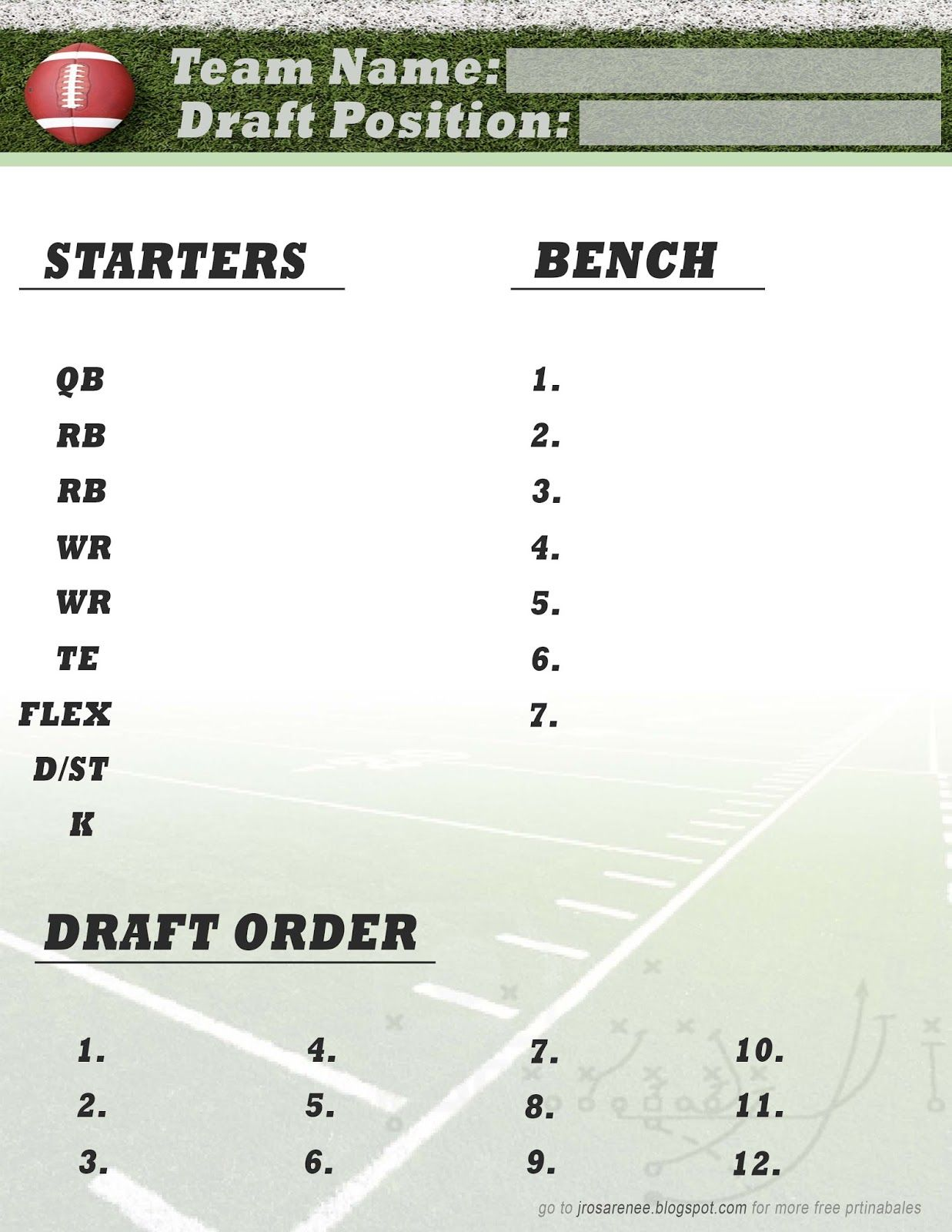 Crush image in printable fantasy football roster sheets