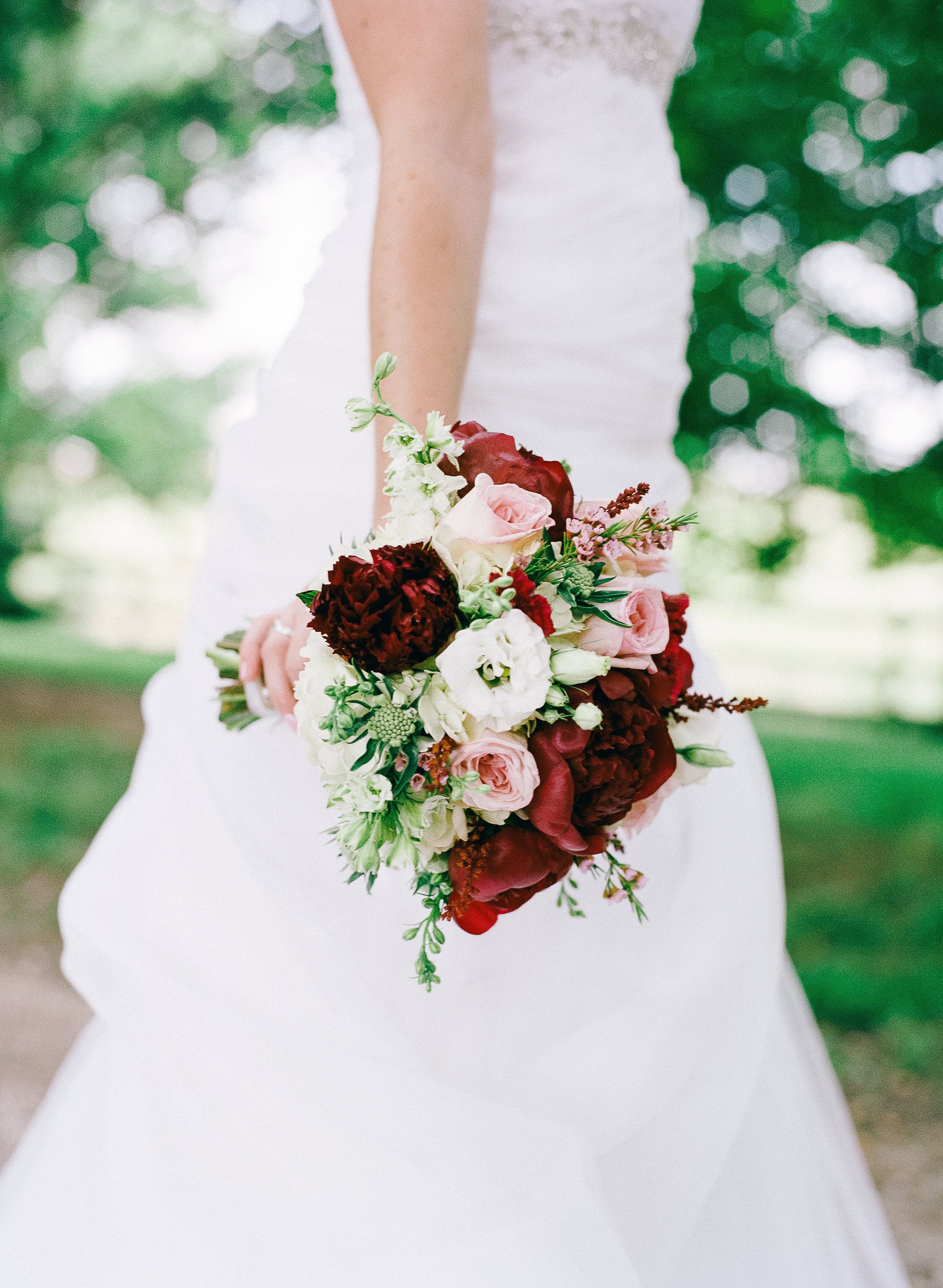 Bridal Bouquet with Burgundy Peonies, Pink Garden Roses