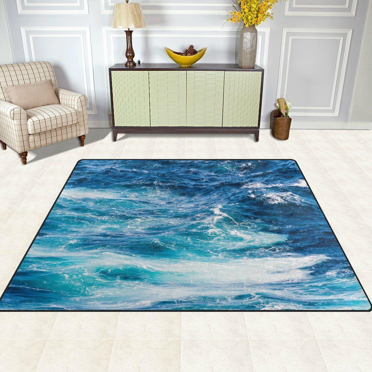 Naanle Blue Sea Waves Area Rug 5x7 Atlantic Ocean Waves Polyester