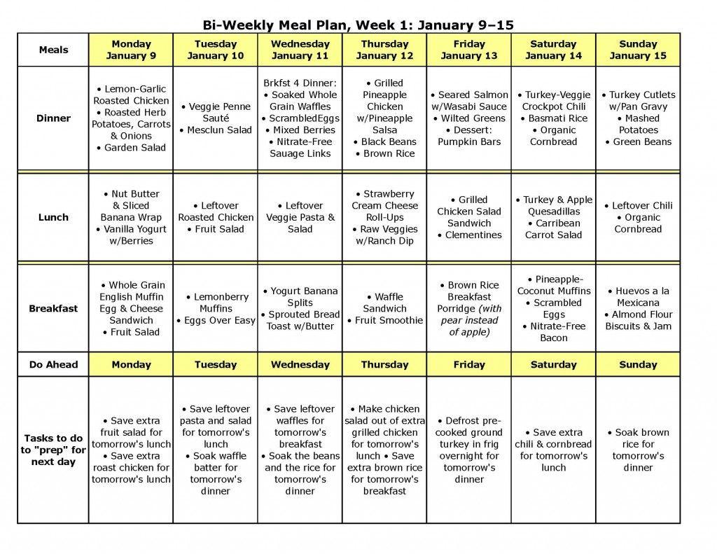 one week meal planner