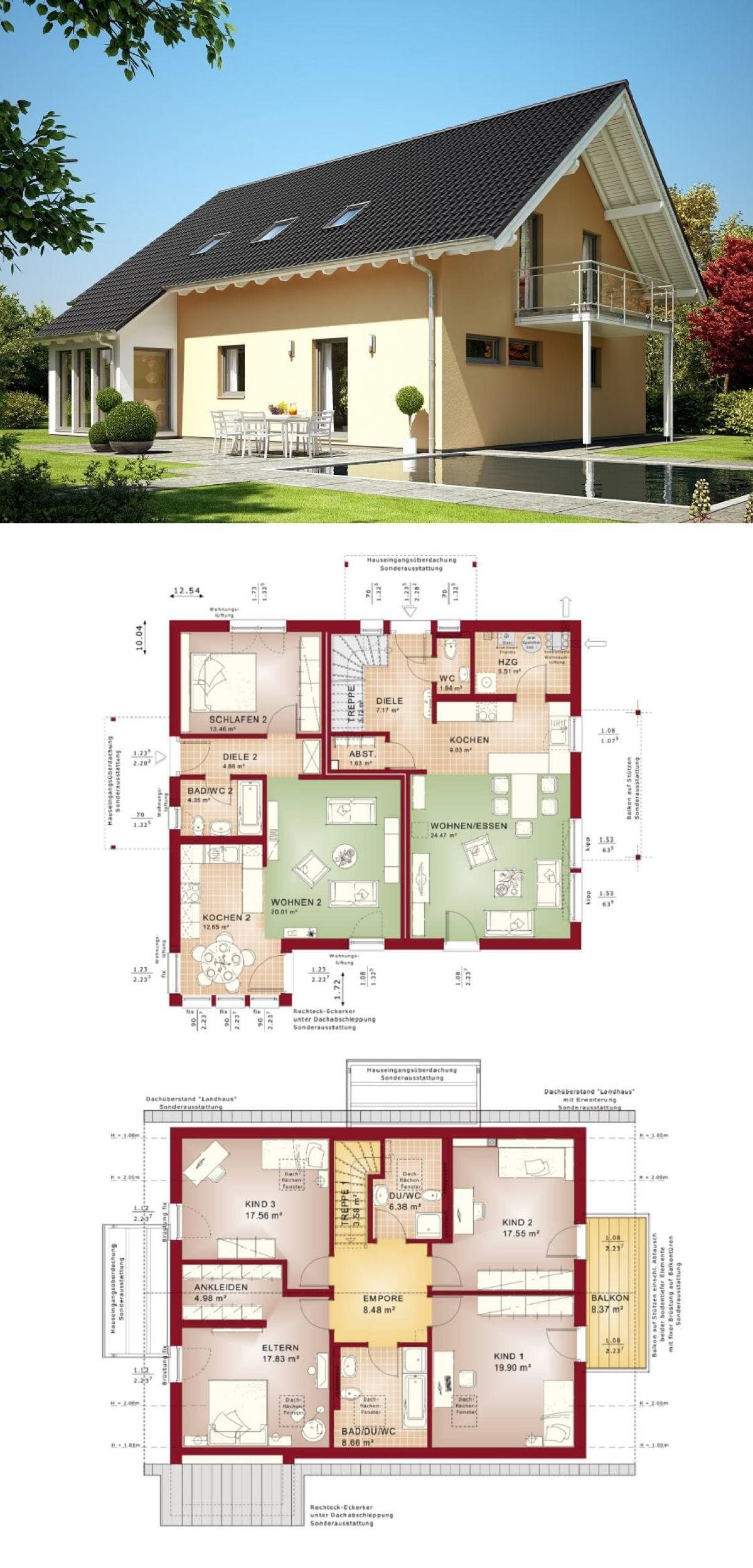 Zweifamilienhaus mit einliegerwohnung haus evolution 207 for Zweifamilienhaus modern grundriss