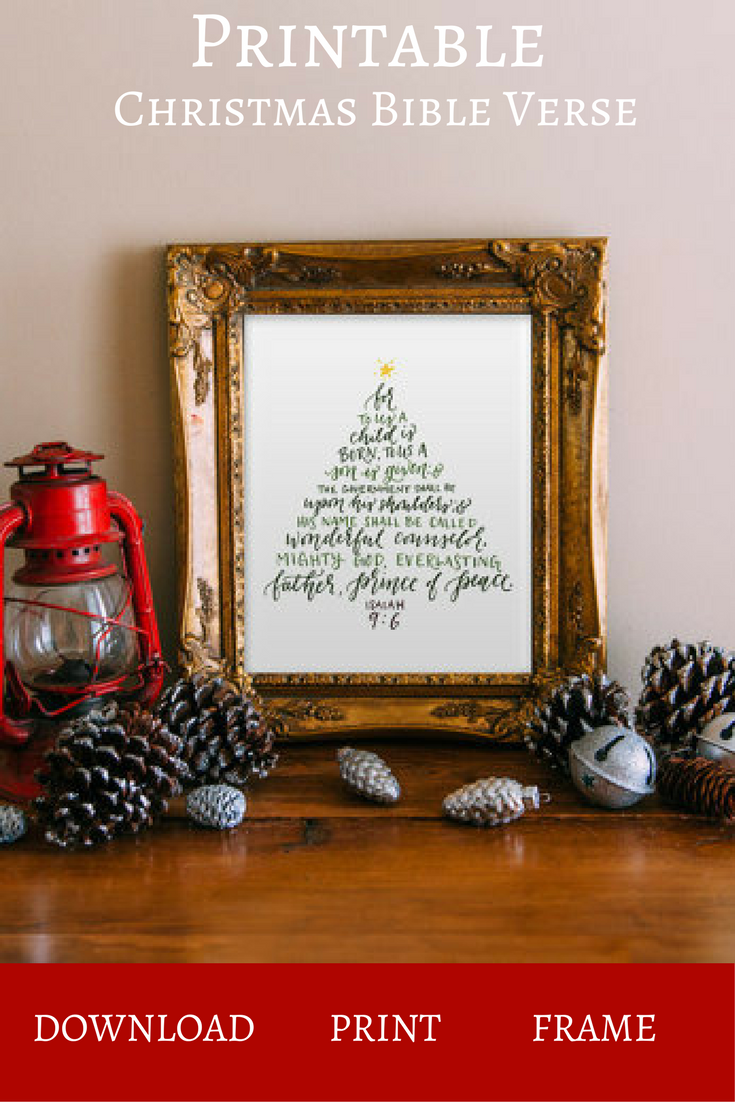 this powerful printable bible verse is set in the shape and tones of a christmas tree reminding you of the true meaning of the season with a stylish