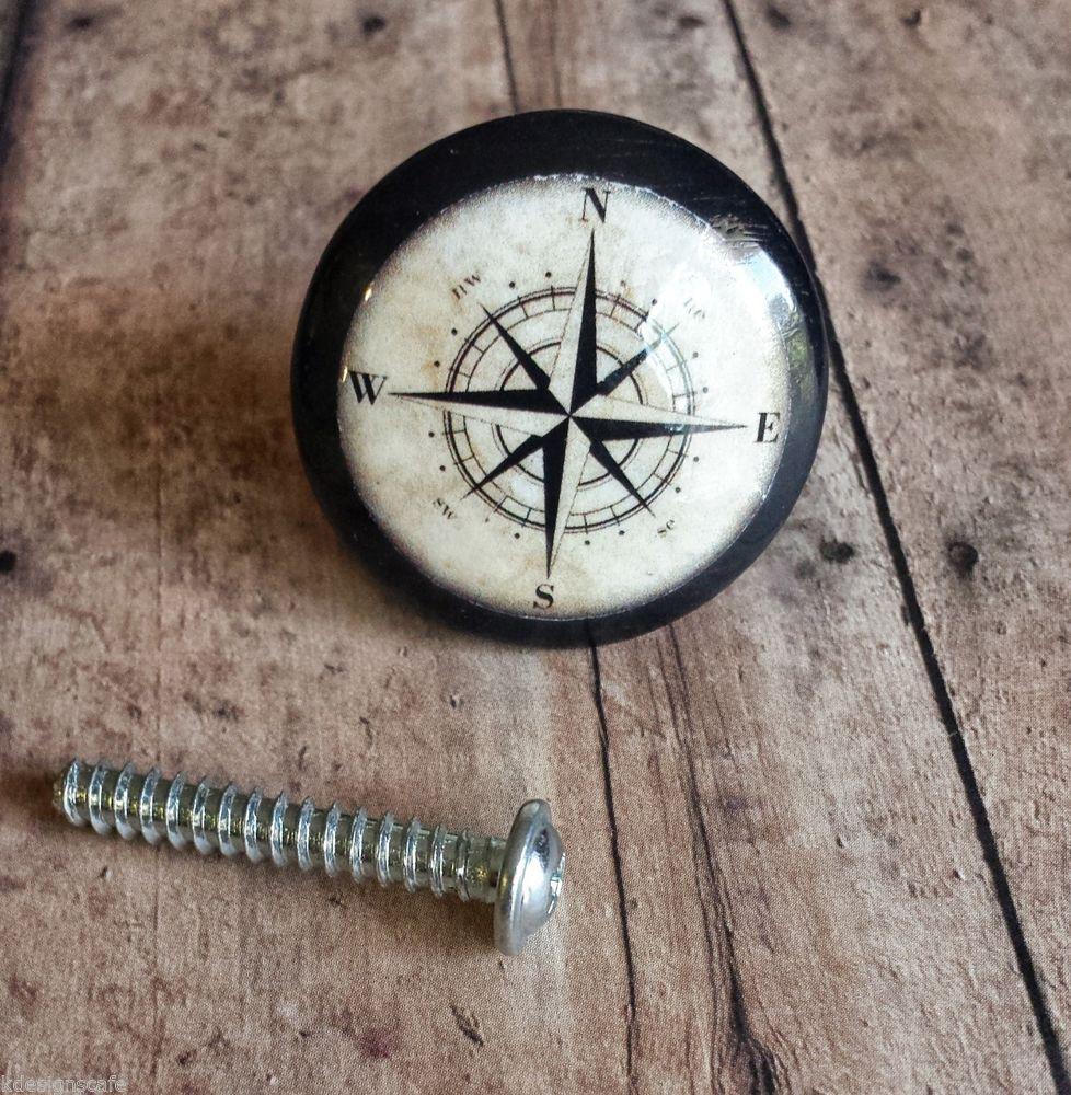 Handmade nautical birch wood knob drawer pulls set of compass