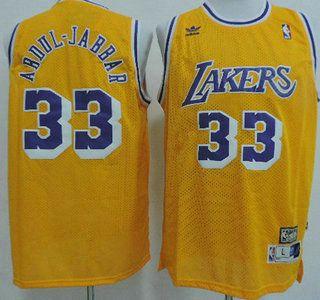 brand new c72e5 ca191 Los Angeles Lakers Jersey 33 Kareem Abdul-Jabbar Yellow ...