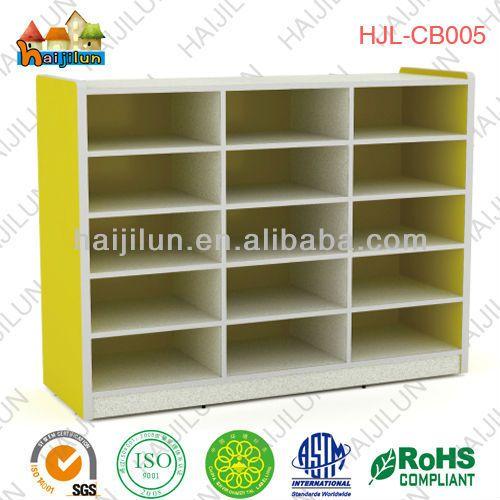 colorful kids school furniture,wooden shoe storage cabinet , children daycare toys storage cabinet $80~$150