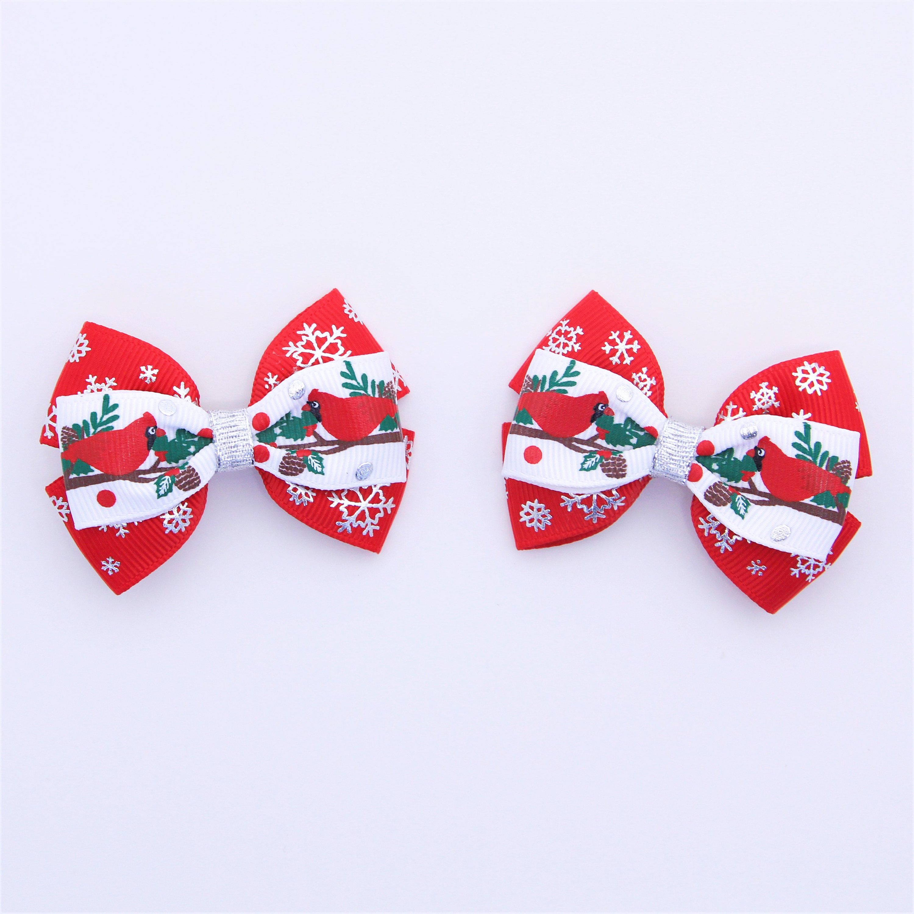 Christmas Hair Bows For Toddlers.Christmas Hair Bows Pigtail Hair Bows Set Of 2 Small Bows