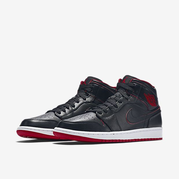 Nike Air Jordan 1 Mid Men Casual Shoes Black White Gym Red Black