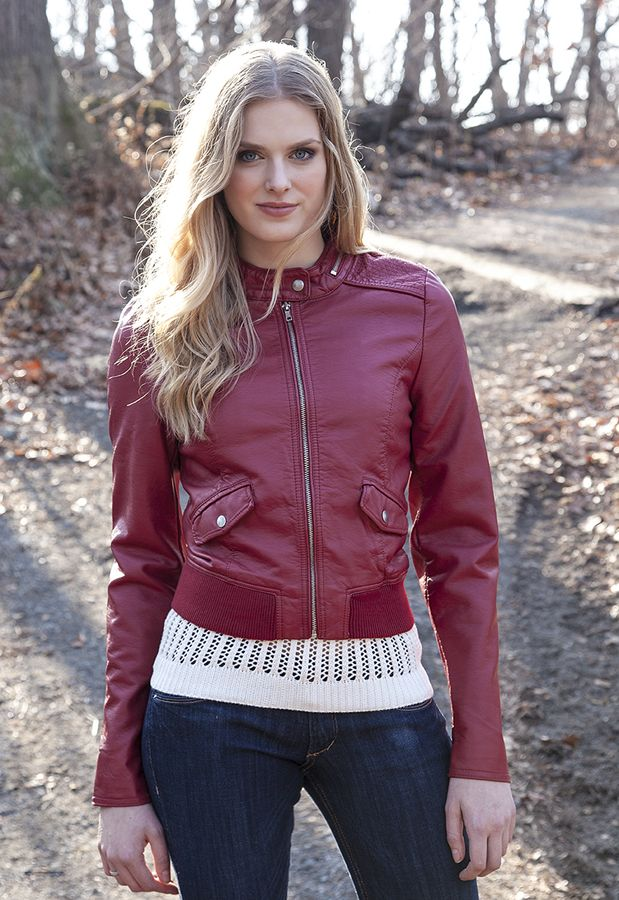 Red faux leather racing Jacket - by Sebby  #Sebby #Clothing #OUAT #fashion