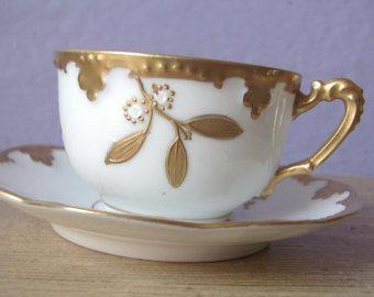 Antique Ak Limoges France Tea Cup And Saucer Gold Set French Porcelain
