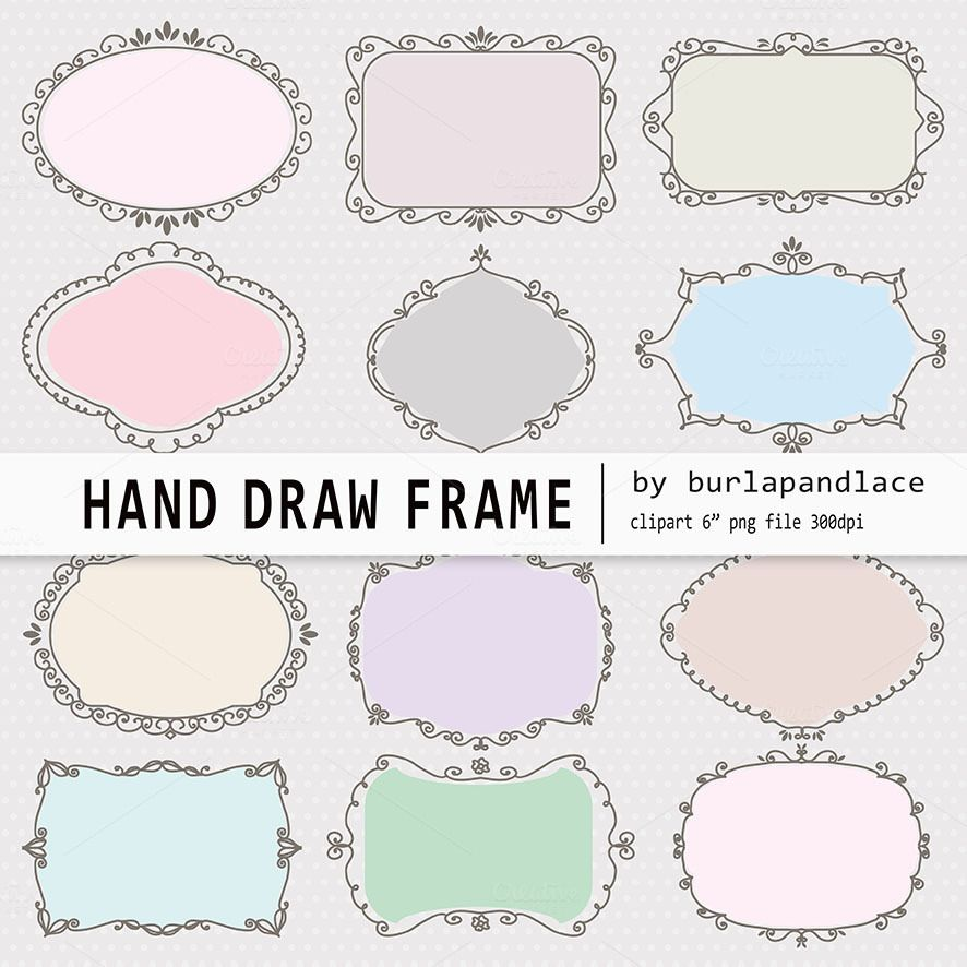 Hand draw frames pastel color   Pastel colors and Hand drawn