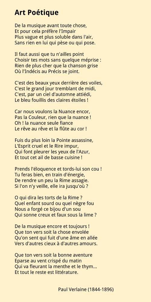 Paul Verlaine 1844 1896 Art Poétique Poeme Et Citation