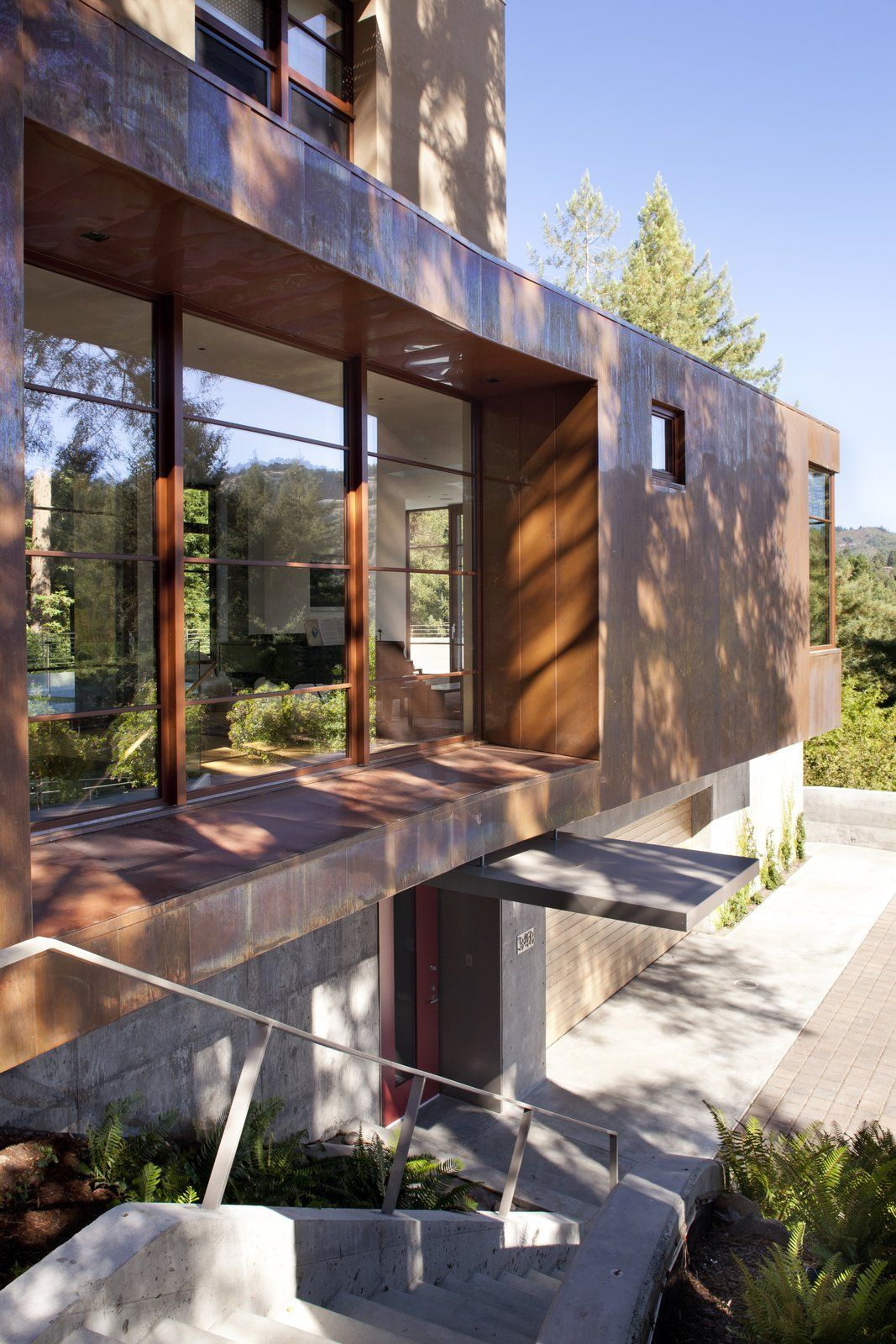 Exterior House Designs Exterior Modern With Concrete Patio Flat Roof: Modern Home With Exterior, Concrete Siding Material, House, Metal Roof Material, Metal Siding