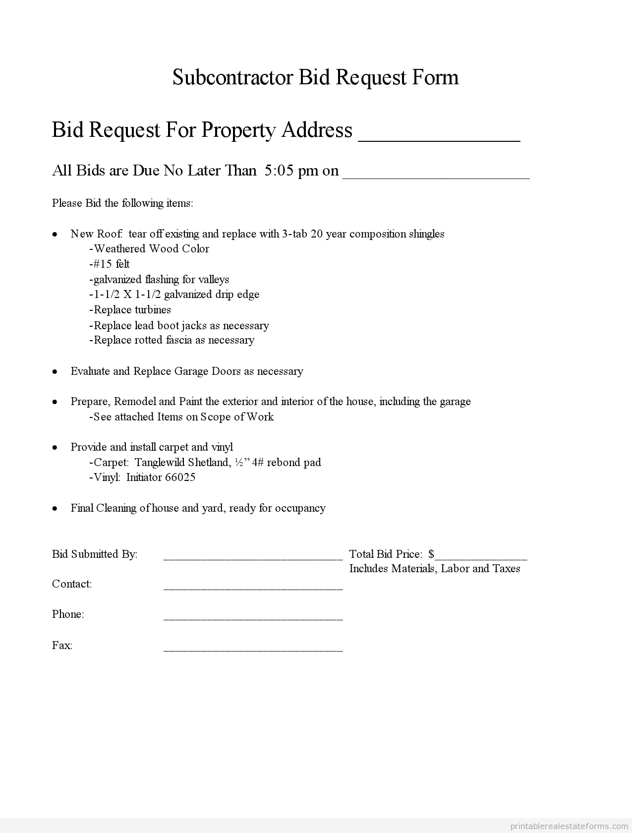 Subcontractor Resume Sample Printable Subcontractor Bid Request Form And Standardized