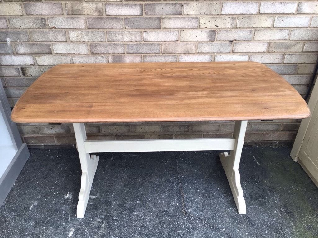 Ercol Dining Table Mid Century Modern Solid Elm Wood Sanded Top