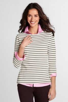 88fb8590b14d3 Womens 3 4-sleeve Boatneck Sailor Tee from Lands End
