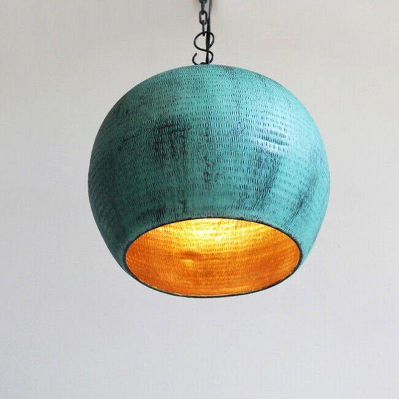 Photo of copper pendant light, handmade pendant lamp, vintage green patina light