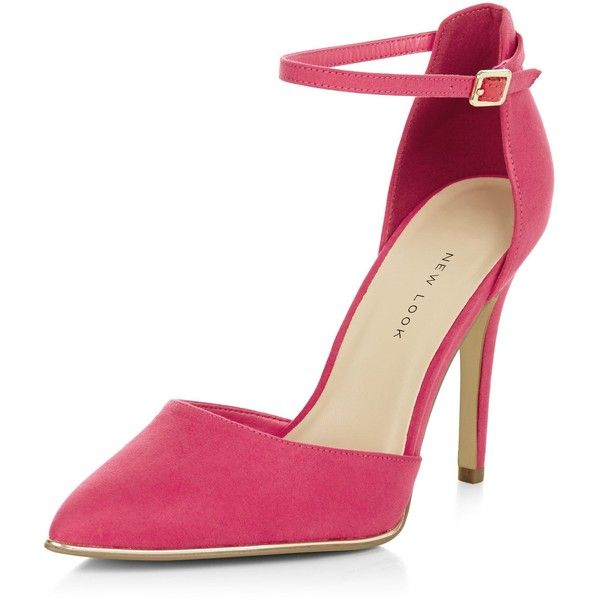 3907f683208 New Look Wide Fit Bright Pink Suedette Ankle Strap Pointed Heels ...
