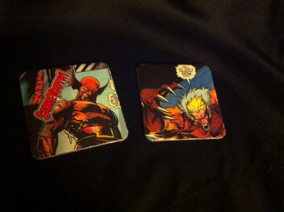 X men comic book coasters wolverine and sabretooth on Etsy, $12.00