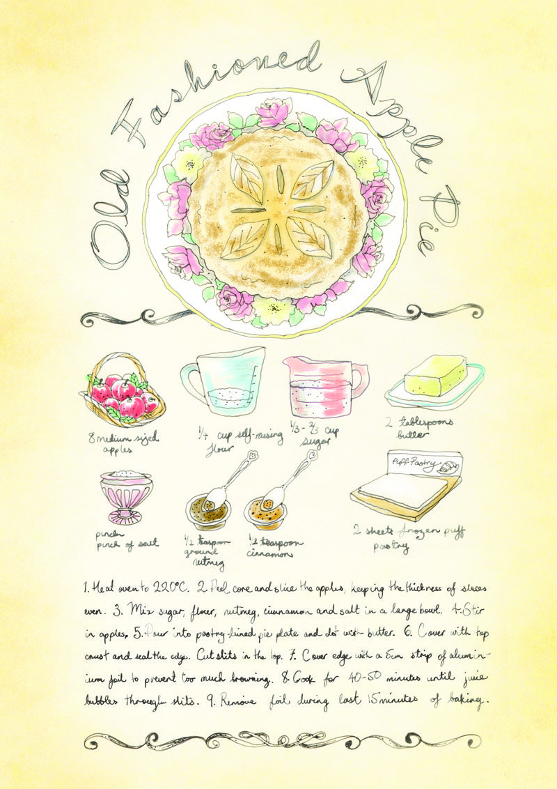 Weekend baking inspiration - Old Fashioned Apple Pie. Recipe illustrated by Bec Winnel for Element Eden.  www.elementeden.com