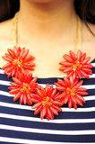 Picking Flowers Necklace: Red/Orange