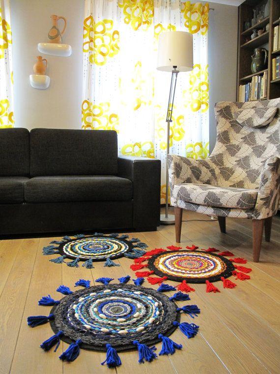 Woven round rug with fringe nursery kidsroom babyboy living room
