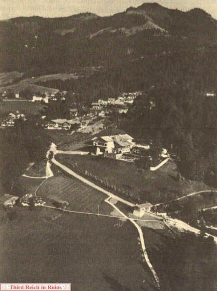 This interesting aerial photo shows the core Obersalzberg area in the summer of 1936, following the conversion of Hitler's Haus Wachenfeld into the Berghof. The view is looking southeast, with the Berghof in the center.