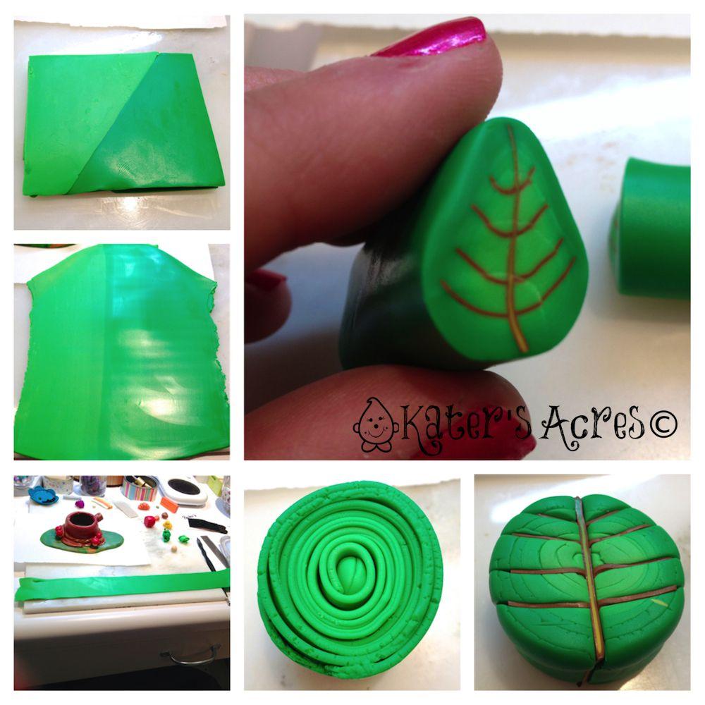 Polymer Clay Leaf Cane Tutorial   Arcilla, Fimo y Bastones de ...