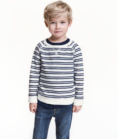 purlknit sweater  natural white/striped  kids  hm us
