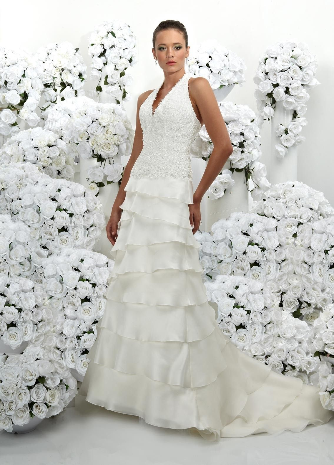 Silk sheath wedding dress  Satin Halter Vneck covered With hollowshaped Arabesquitic Silk