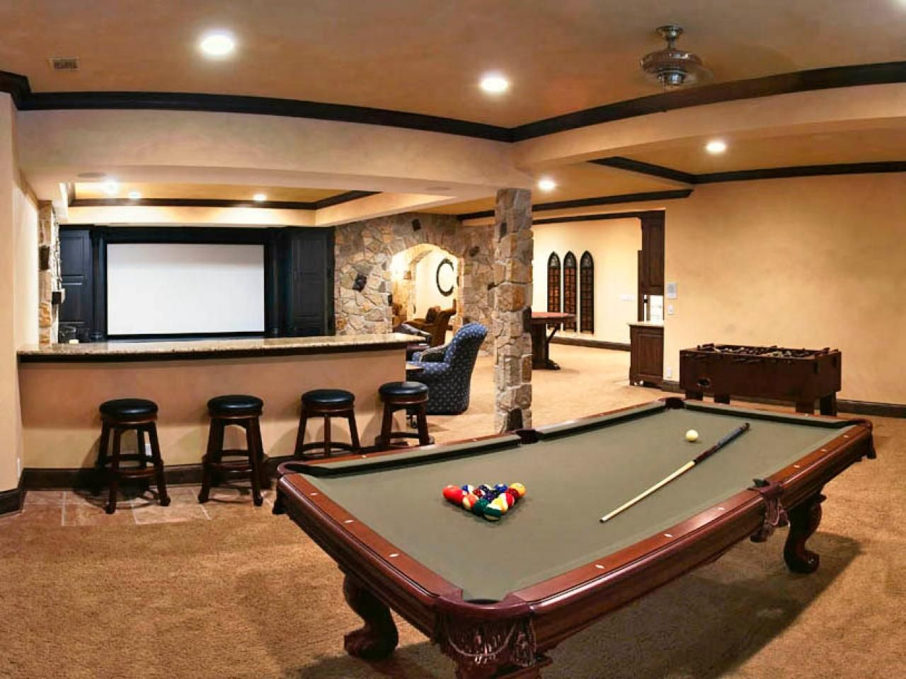 Solving basement design problems pool games pool table for Game room design ideas