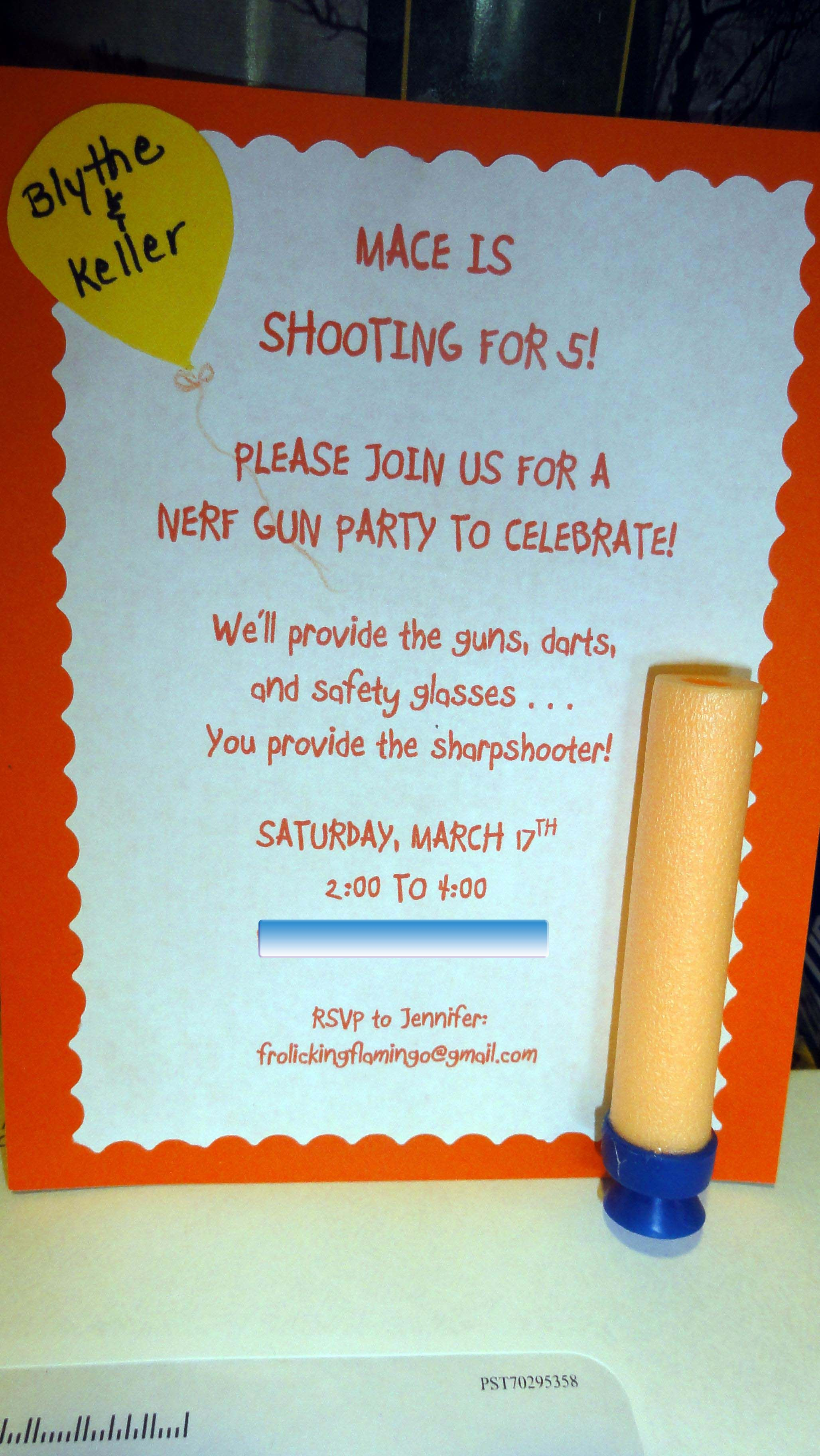 Like the wording for a Nerf invitation