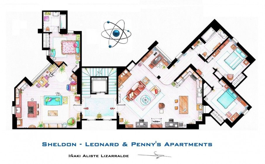 Lovely Floor Plants Idea: Versatile TV Home Floor Plans With Unique Design And Many Of Room Fill The Penny's Apartement