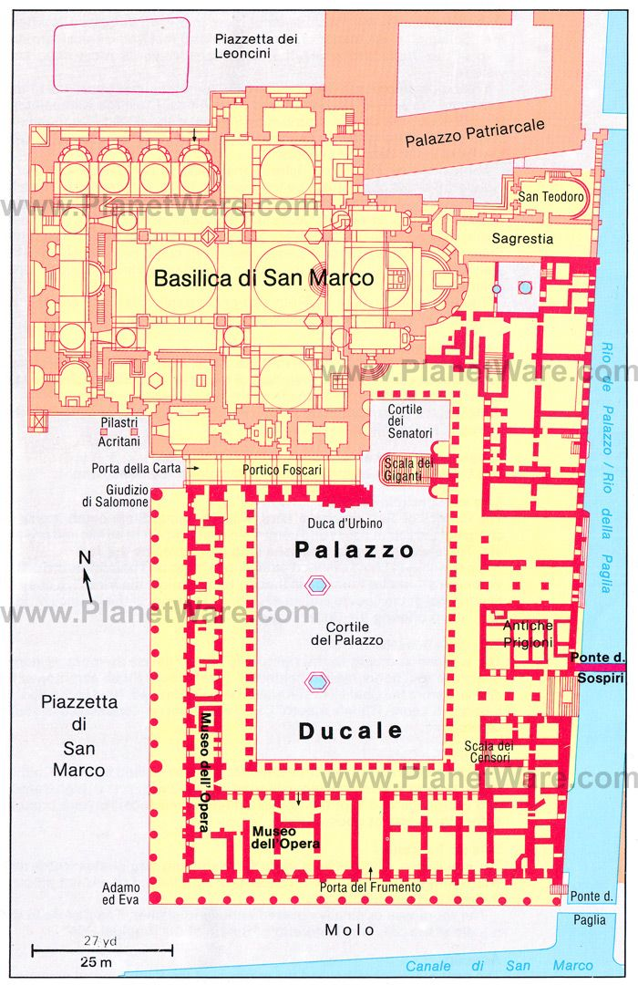 Mark/'s and the Doges/' Palace Venice 1953 old vintage map Floor plan St
