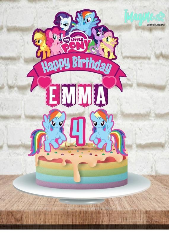 Admirable My Little Pony Topper My Little Pony Banner My Little Pony Cake Personalised Birthday Cards Beptaeletsinfo