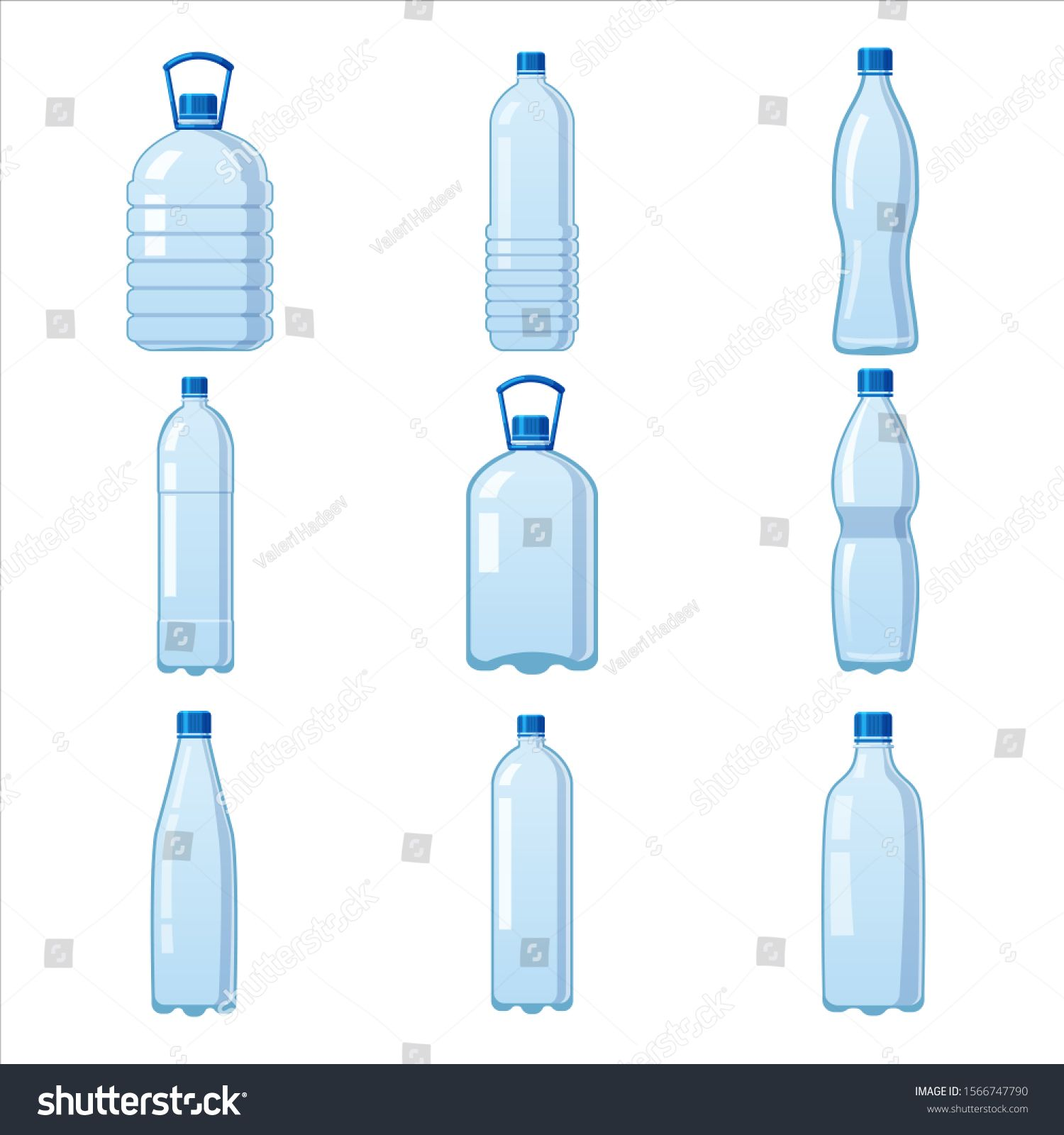 Set Plastic Water Bottles Icon Empty Liquid Container Drink With Screw Cap For Beverage Drinking Mineral Water Water Bottle Drawing Bottle Drawing Water Bottle