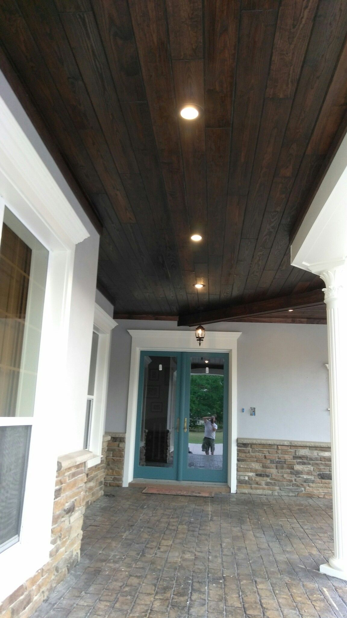 Stained Tounge And Groove Exterior Wood Porch Ceiling Porch Ceiling House Exterior House With Porch
