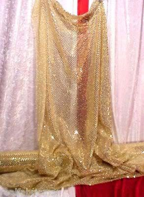 44 Quot Gold Sequined Sheer Metallic Fabric 5 99 Per Yard