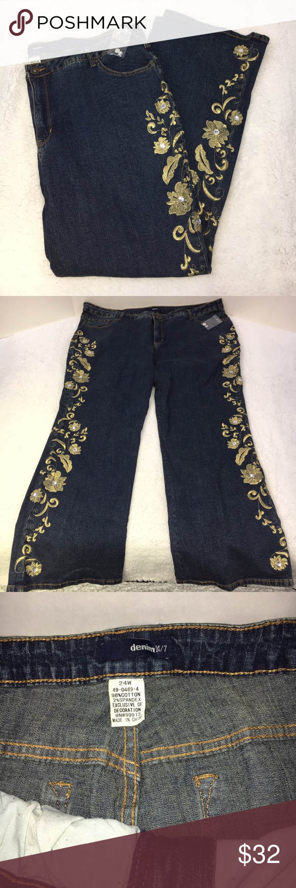 Denim 24/7 gold floral stitched flare wide jeans Denim 24/7 gold floral stitched rhinestone flare wide leg jeans. Size 24W. Beautiful gold floral stitching down outside of both legs. Clear rhinestones in center of each gold flower. Includes two extra rhinestones. New without tags. 98% cotton, 2% spandex, does have stretch to the fabric. Measures approximately 22 inch waist, 13 inch rise, 29 1/2 inch inseam, 41 inch length, 10 1/2 inch width cuff. Smoke-free home. (A25) denim 24/7 Jeans Flare…