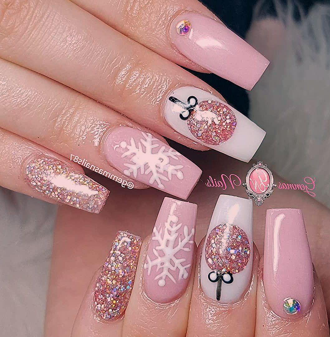 Pink And White Christmas Nails Unas De Gel Navidenas Tutorial De Unas Acrilicas Manicura De Unas